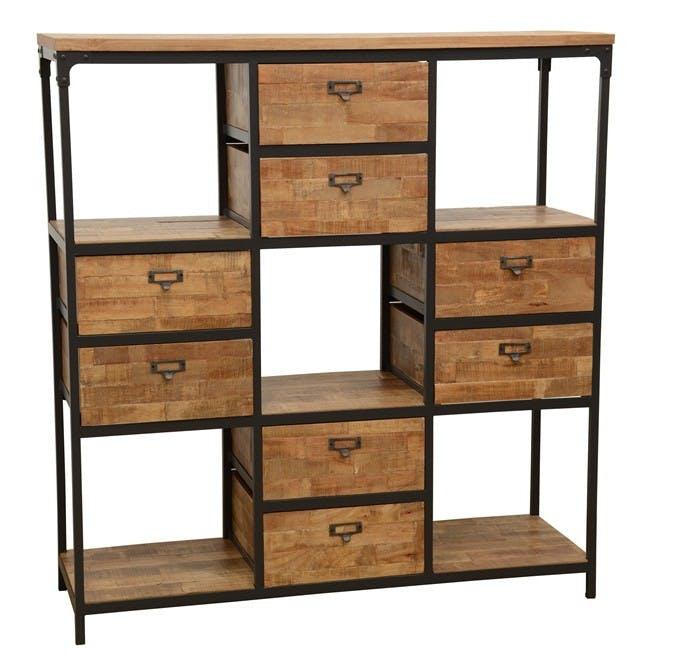 Bibliothèque Double Faces 8 tiroirs, 5 niches cubes en Hévéa recyclé naturel et métal 120x40x128cm LOFT