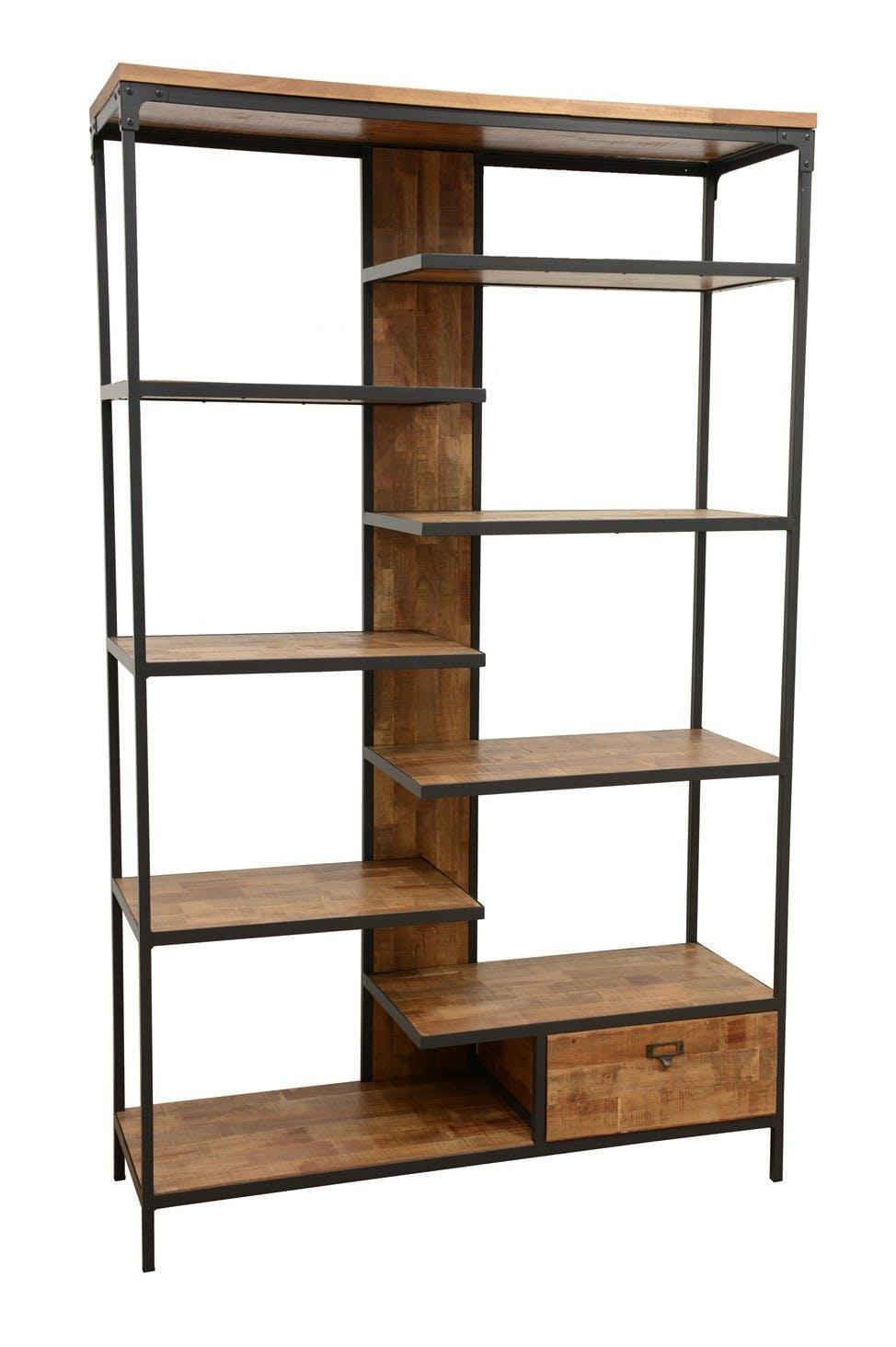 Bibliothèque 1 tiroir, 8 étages en quinconce en Hévéa recyclé naturel et métal 120x40x195cm LOFT