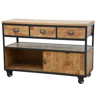 Buffet à roulettes 3 tiroirs, 1 porte coulissante, 1 grande niche ouverte en Hévéa recyclé naturel et métal 120x45x80cm LOFT
