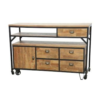 Buffet / Console à roulettes en 2 parties, 4 + 1 tiroirs, 1 porte en Hévéa recyclé naturel et métal 140x50x97cm LOFT