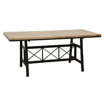 Table de Repas plateau en Hévéa recyclé naturel et pieds métal avec croisillons 180x90x76cm LOFT