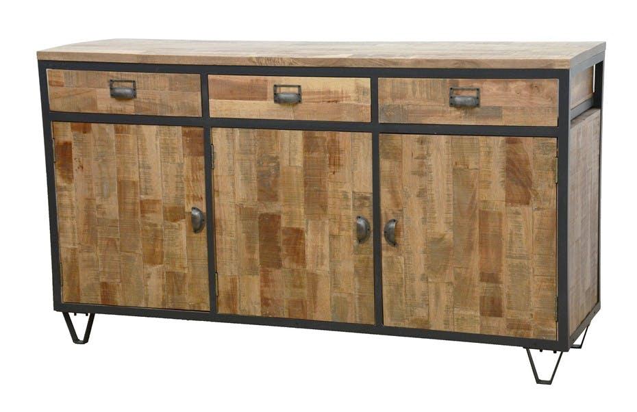 Buffet 3 portes, 3 tiroirs en Hévéa recyclé naturel et métal 150x45x85cm LOFT