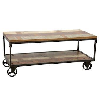 Table basse à roulettes double plateaux en Hévéa recyclé coloré et métal 120x60x47cm LOFT COLORS