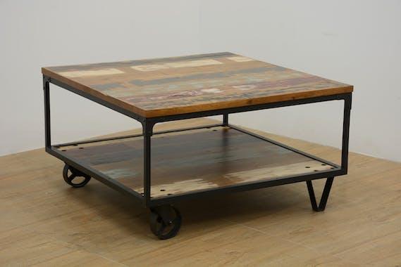 Table basse à roulettes double plateaux en Hévéa recyclé coloré et métal 90x90x47cm LOFT COLORS