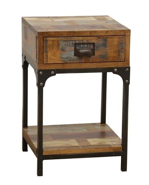 Table de Chevet / Bout de Canapé 1 tiroir, 1 plateau bas en Hévéa recyclé coloré et métal 35x35x55cm LOFT COLORS
