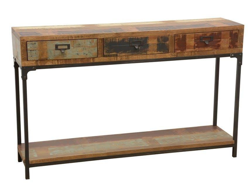 Console 3 tiroirs, 1 plateau bas en Hévéa recyclé coloré et métal 120x30x75 LOFT COLORS