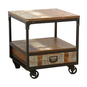 Bout de Canapé / Table de Chevet à roulettes 1 tiroir, double plateaux en Hévéa recyclé coloré et métal 50x50x55cm LOFT COLORS