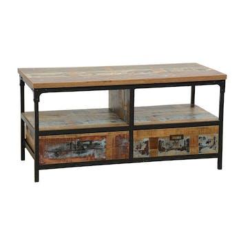 Meuble TV 2 tiroirs, 2 niches ouvertes en Hévéa recyclé coloré et métal 100x45x50cm LOFT COLORS