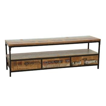 Meuble TV 3 tiroirs, 1 grande niche ouverte en Hévéa recyclé coloré et métal 150x45x50cm LOFT COLORS