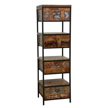 Colonne 4 tiroirs, 3 niches ouvertes en Hévéa recyclé coloré et métal 45x40x150cm LOFT COLORS