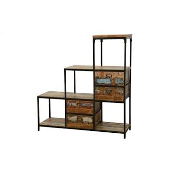 Meuble Escalier Double Faces 4 tiroirs, 4 niches cubes ouvertes en Hévéa recyclé coloré et métal 120x40x128cm LOFT COLORS
