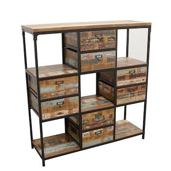 Bibliothèque Double Faces 8 tiroirs, 5 niches cubes en Hévéa recyclé coloré et métal 120x40x128cm LOFT COLORS