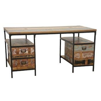 Bureau 3 tiroirs, 2 niches ouvertes en Hévéa recyclé coloré et métal 150x75x75cm LOFT COLORS