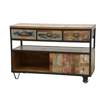 Buffet à roulettes 3 tiroirs, 1 porte coulissante, 1 niche ouverte en Hévéa recyclé coloré et métal 120x45x80cm LOFT COLORS
