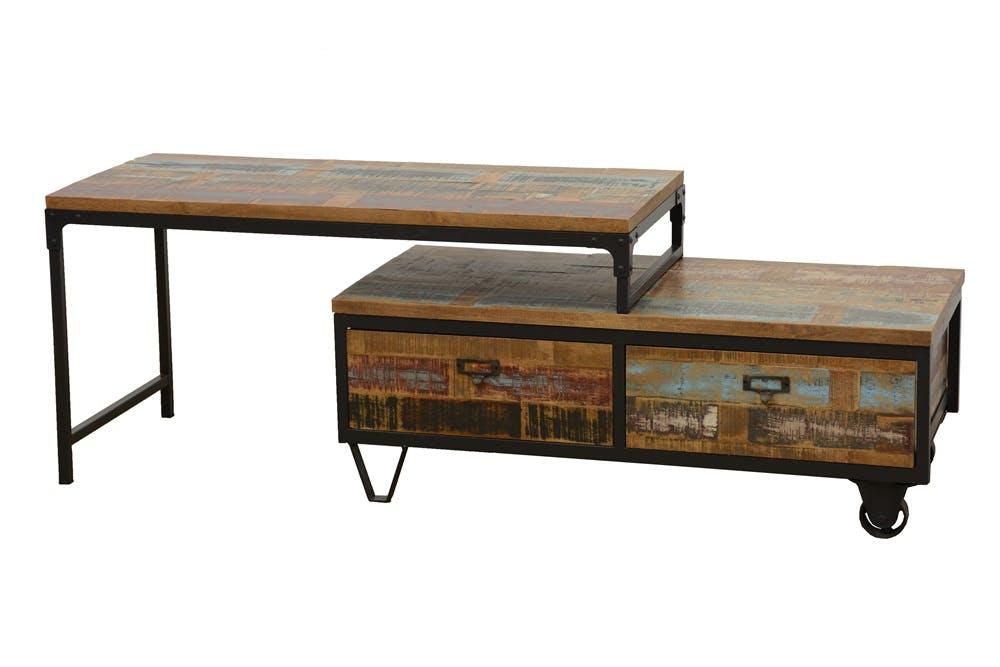 Meuble TV à roulettes en 2 parties, 2 tiroirs, 1 grand plateau en Hévéa recyclé coloré et métal 100x45x50cm LOFT COLORS