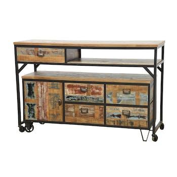 Buffet / Console à roulettes en 2 parties, 4 + 1 tiroirs, 1 porte en Hévéa recyclé coloré et métal 140x50x97cm LOFT COLORS