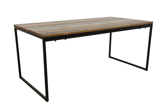 Table de Repas en Hévéa recyclé coloré et pieds métal 180x90x77cm LOFT COLORS