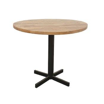 Table ronde en Hévéa recyclé naturel et pieds métal en croix D90xH76cm LOFT