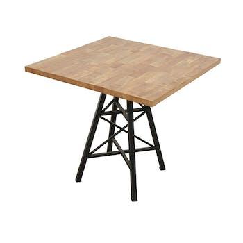 """Table carrée en Hévéa recyclé naturel et pieds métal façon """"Tour Eiffel"""" 80x80x76cm LOFT"""