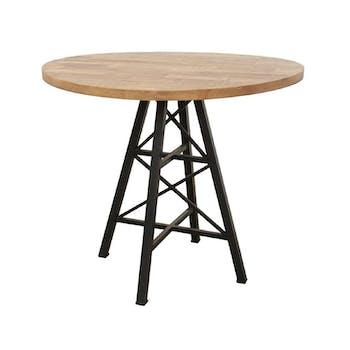 """Table ronde en Hévéa recyclé naturel et pieds métal façon """"Tour Eiffel"""" D90xH76cm LOFT"""