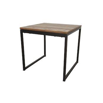 Table carrée en Hévéa recyclé coloré et pieds métal 80x80x76cm LOFT COLORS