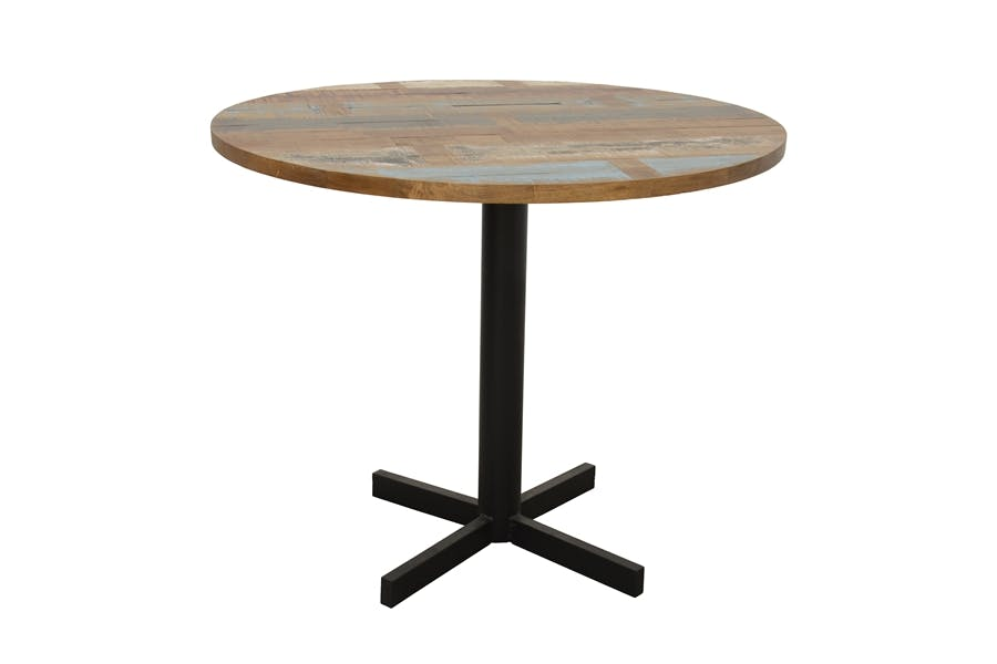 Table ronde en Hévéa recyclé coloré et pieds métal en croix D90xH76cm LOFT COLORS