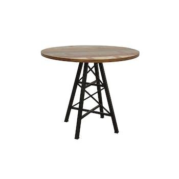 """Table ronde en Hévéa recyclé coloré et pieds métal façon """"Tour Eiffel"""" D90xH76cm LOFT COLORS"""