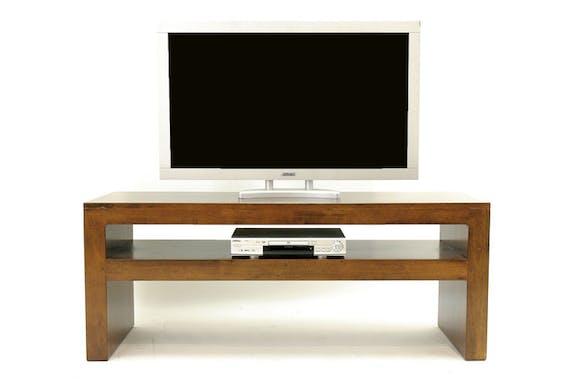 Meuble TV / Console basse Hévéa double plateaux 150x50x60cm OLGA