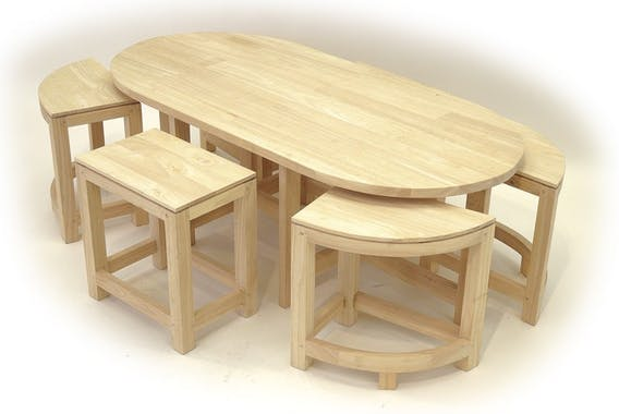 Table basse hévéa + 6 tabourets MAORI