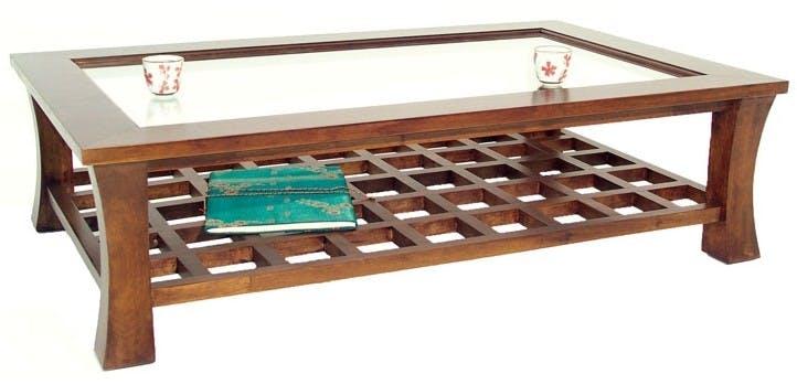 Table basse vitrée hévéa 130x80cm MAORI