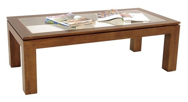 Table basse vitrée hévéa 120X60cm HELENA