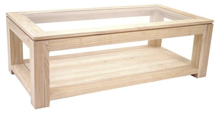 Table basse vitrée hévéa 2 plateaux 120X60cm HELENA