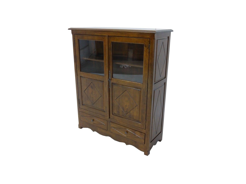 Buffet Hévéa 2 portes mi-vitrées, 2 tiroirs 110x40x130cm TRADITION