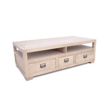 Table basse double face hévéa 125cm HELENA