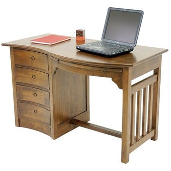 Bureau vague colonial 4 tiroirs hévéa 124cm TRADITION