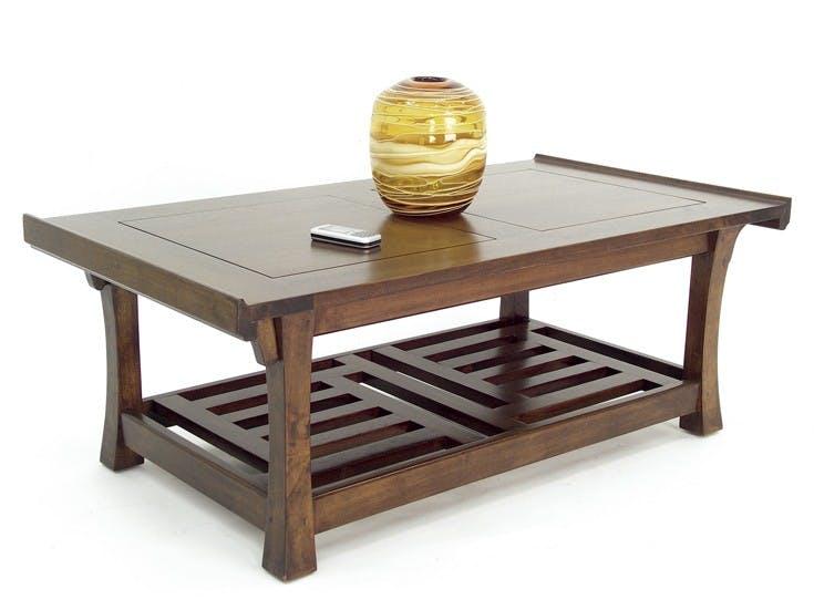 Table basse hévéa double plateaux 110x60cm MAORI
