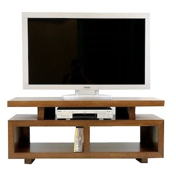 Meuble TV hévéa 2 niches 120cm HELENA