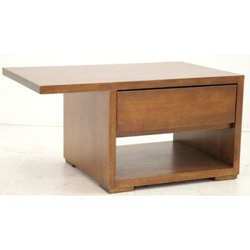 Table de chevet moderne hévéa recto verso 65cm OLGA