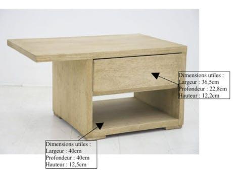 Table de chevet moderne hévéa recto verso 65cm OLGA