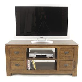 Meuble TV hévéa 4 tiroirs 125x45x58cm HELENA