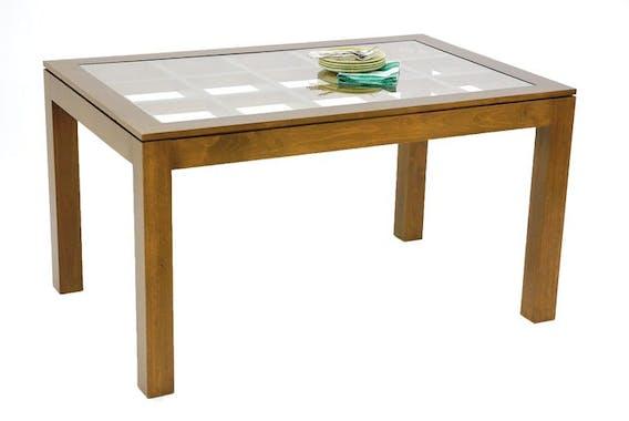 Table de repas rectangle Hévéa avec plateau verre posé sur quadrillage bois 138,5x89,5x76cm HELENA