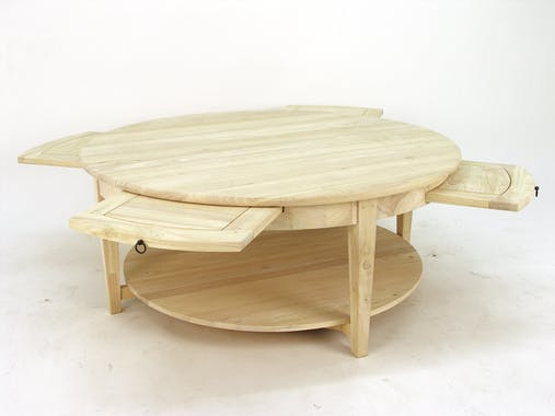 Table basse ronde Hévéa double plateaux, avec 4 tiroirs coulissants D110xH45cm MAORI