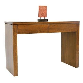 Console bureau bois moderne hévéa 109cm HELENA