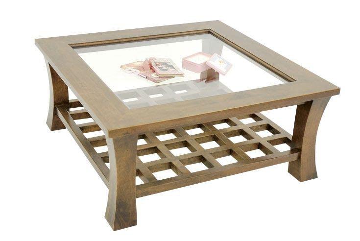 Table basse hévéa vitrée 80x80cm MAORI