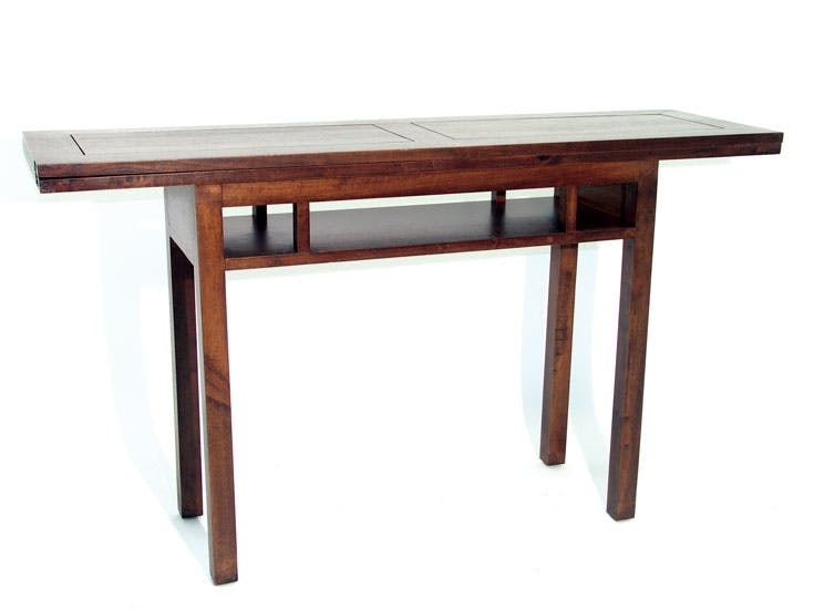 Console extensible en table repas hévéa 140cm HELENA