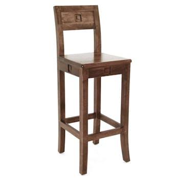 Chaise de bar hévéa 38x41x105cm TESSA