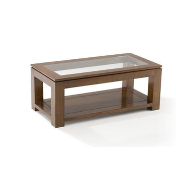 Table basse vitrée hévéa 100X50cm HELENA