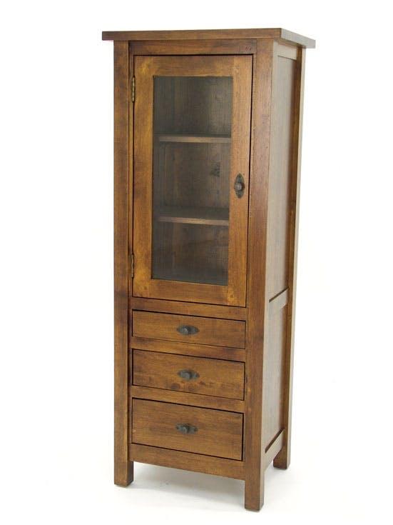 Colonne vitrine 1 porte 3 tiroirs hévéa 130cm TRADITION