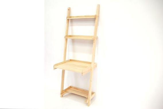 Bureau étagère bois massif hévéa 70xH190cm TRADITION