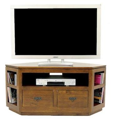 Meuble TV d'angle hévéa 120cm HELENA